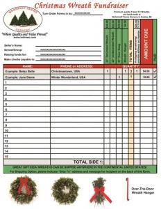 Wreath Fundraiser Sample Order Form